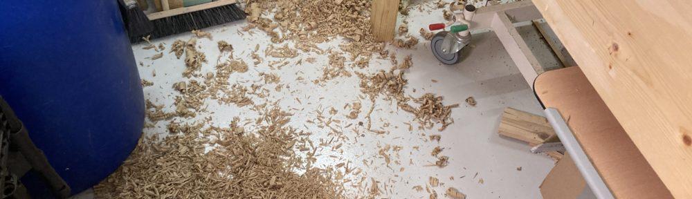 oak shavings on the floor